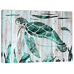 Visual Art Decor Teal Wall Decor Turtles Painting Ocean Coastal Style Premium Canvas Wall Art Prints Gallery Wrapped Ready to Hang for Home Living Room Kids Bedroom Wall Decoration
