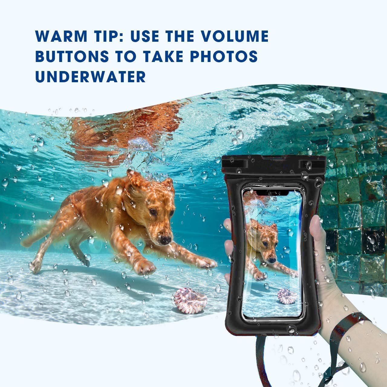 WJZXTEK Universal Floating Waterproof Case,IPX8 Waterproof Phone Pouch Underwater Dry Bag,Compatible iPhone Xs Max/Xr/X/8/8plus/7/7plus Galaxy s9/s8 Note 9/8 Google Pixel up to 6.5\