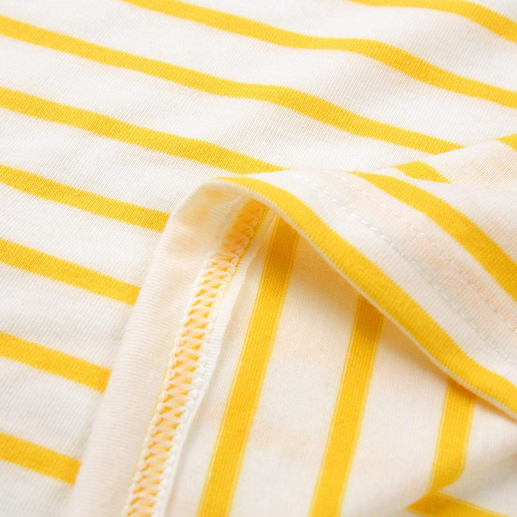 Keliay Cute Womens Tops Summer,Women Summer Casual Printed Striped O-Neck Short Sleeve Top Blouse Yellow by Keliay (Image #5)