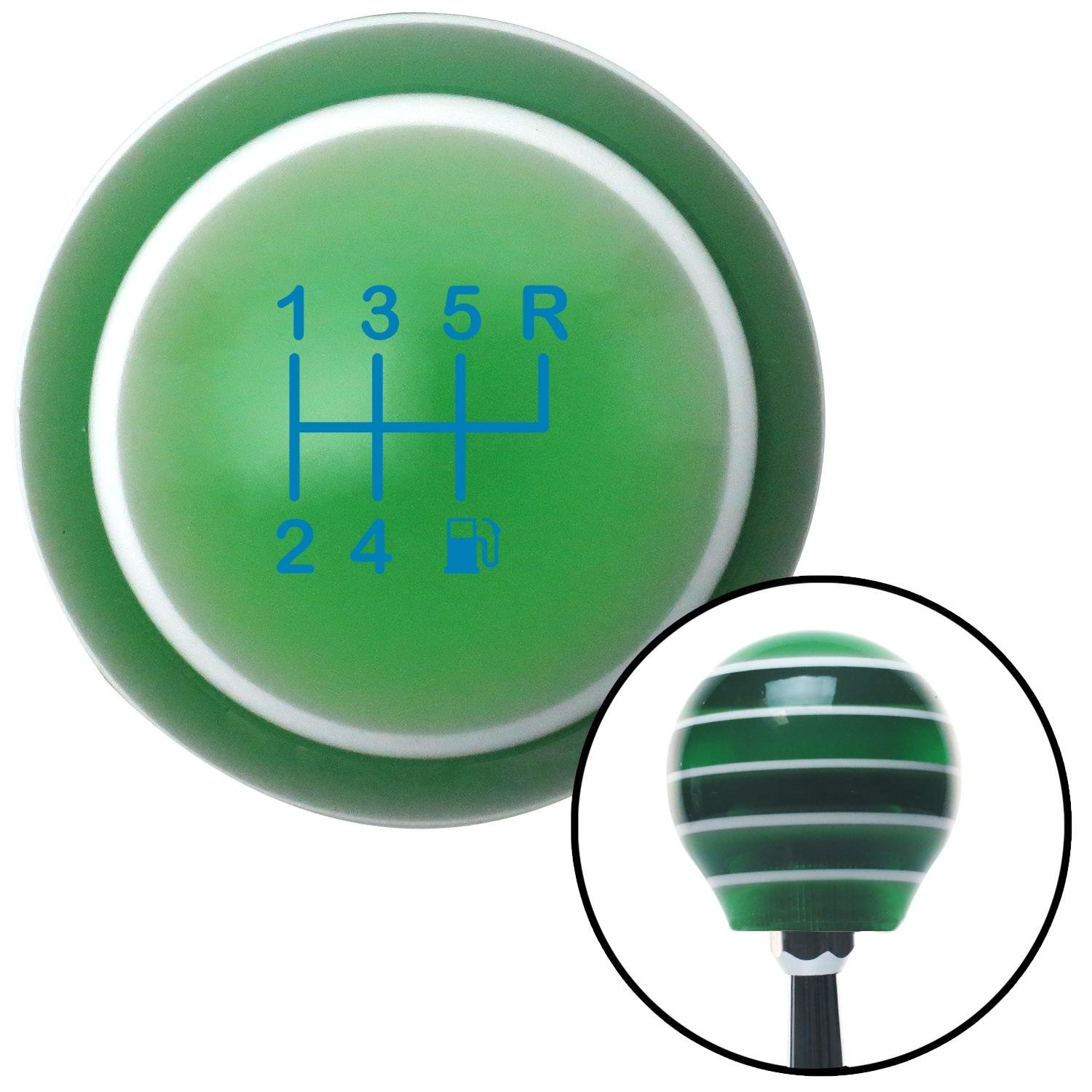 American Shifter 275635 Shift Knob Blue 6 Speed Shift Pattern - Gas 26 Green Stripe with M16 x 1.5 Insert