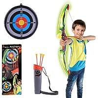 PARIO Pijl en boog voor kinderen, schietspeelgoed, schietspel, set vanaf 3 jaar, led-licht (3 x pijlen, 1 x boog, 1 x…