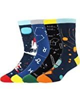 Happypop Men's Cool Crazy Pattern Novelty Funny Cotton Crew Dress Socks