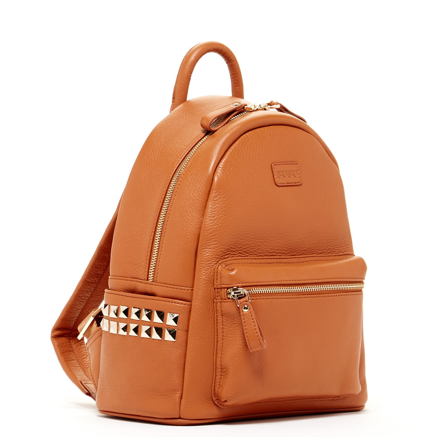 SUSU Brown Pebble Leather Backpack Bags For Women Cute Designer Handbags With Studs and Front Pocket Travel Fashion Backpacks Purses With Side Pockets Quality Rucksack Girlfriend or Wife Birthday Gift by SUSU (Image #2)