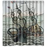 "Custom Shower Curtain Sea Monster Kraken Octopus Waterproof Fabric Bathroom Shower Curtain 66"" x 72"""
