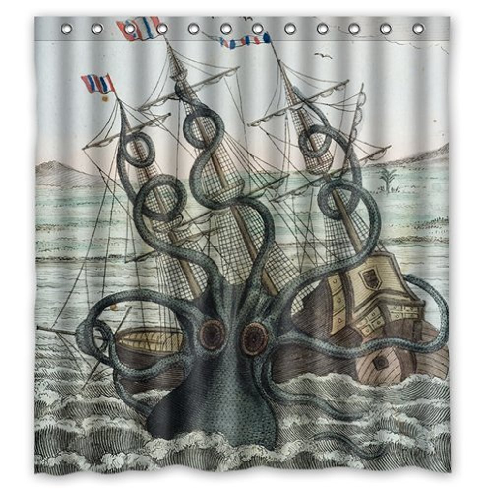 Kraken shower curtain - Amazon Com Custom Shower Curtain Sea Monster Kraken Octopus Waterproof Fabric Bathroom Shower Curtain 66 X 72 Home Kitchen