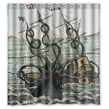 Custom Shower Curtain Sea Monster Kraken Octopus Waterproof Fabric Bathroom 66quot