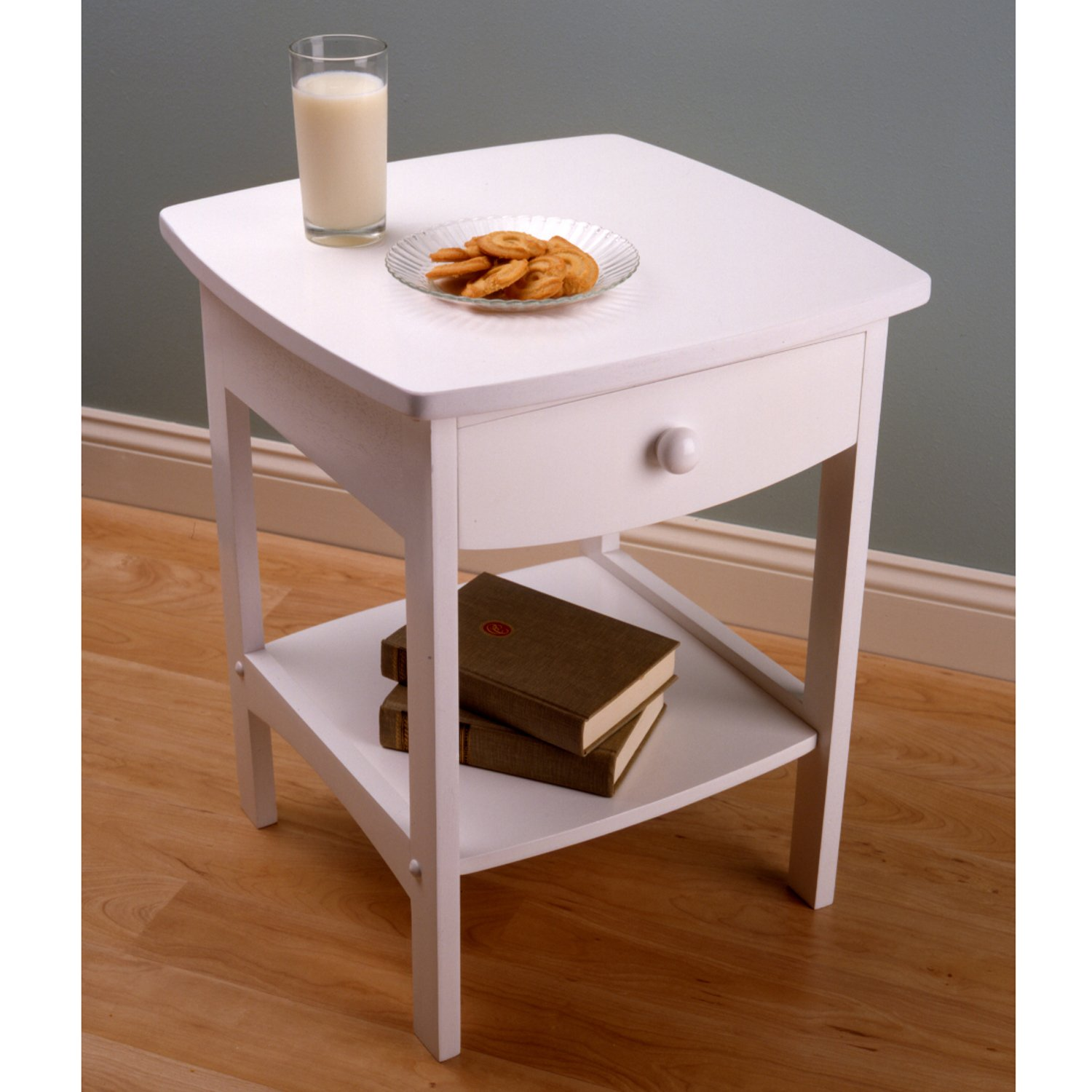 amazoncom winsome wood end tablenight stand with drawer and shelf white kitchen u0026 dining