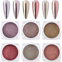 MEILINDS Nail Art Glitter Magic Temperature Change Color Powder Summer Manicure Pigment Dust 12 Colors (6 color Mirror…