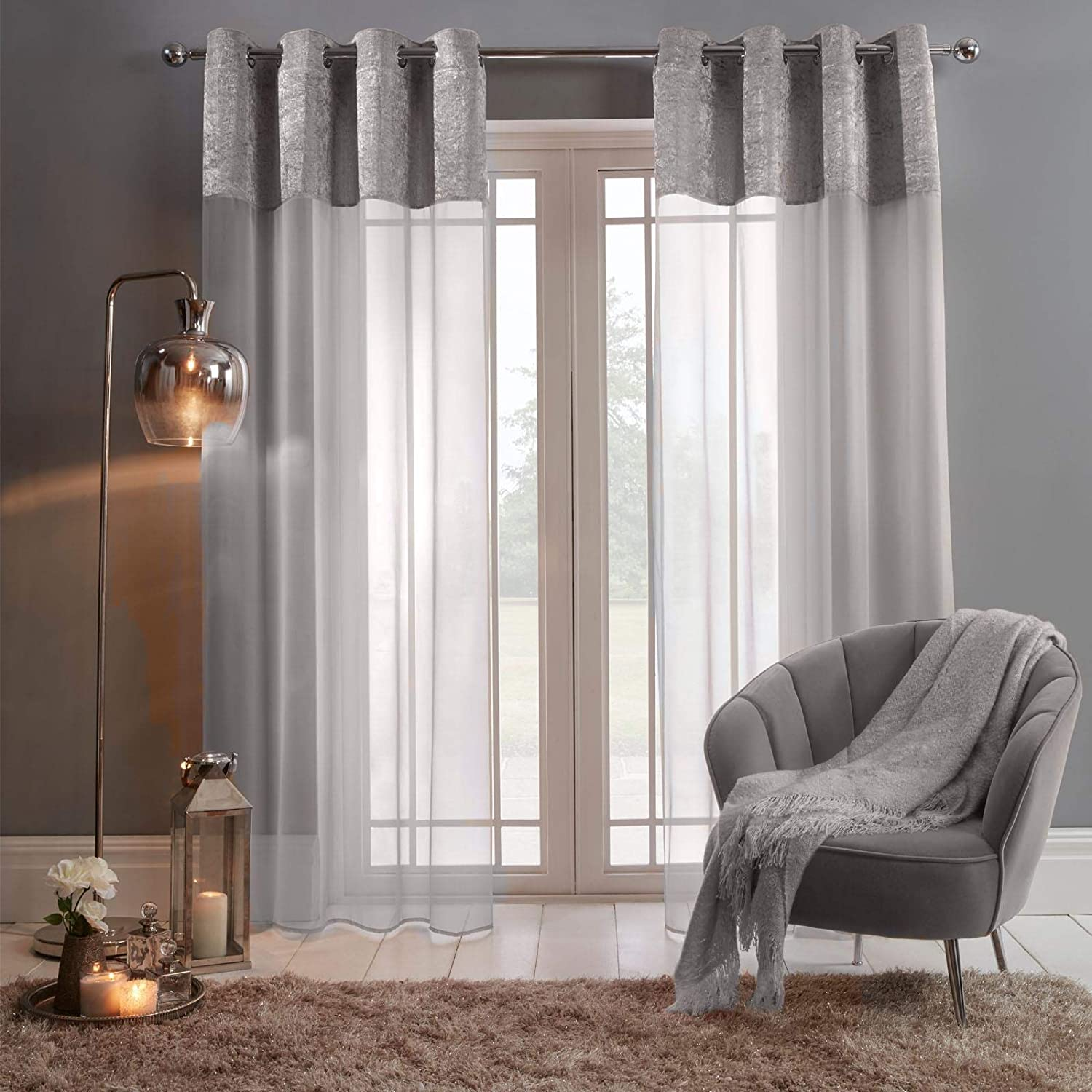 """Sienna Pair of Crushed Window Treatment Panel Lace Voile Net Curtain Textured Eyelet Ring Top, Silver Grey Panels-55, Velvet, 55"""" wide x 87"""" drop 55"""" wide x 87"""" drop Silver Grey"""