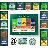 VAHDAM, Detox Tee Sortiment | 5 Tees, 4 Pyramid Tea Bags Jeder | Bio Himalaya Grüner Tee, Süßer Himalaya Grüner Tee, Kurkuma Gewürz, Kardamom Spiced Chai & High Mountain Oolong Tee 20 Teebeutel
