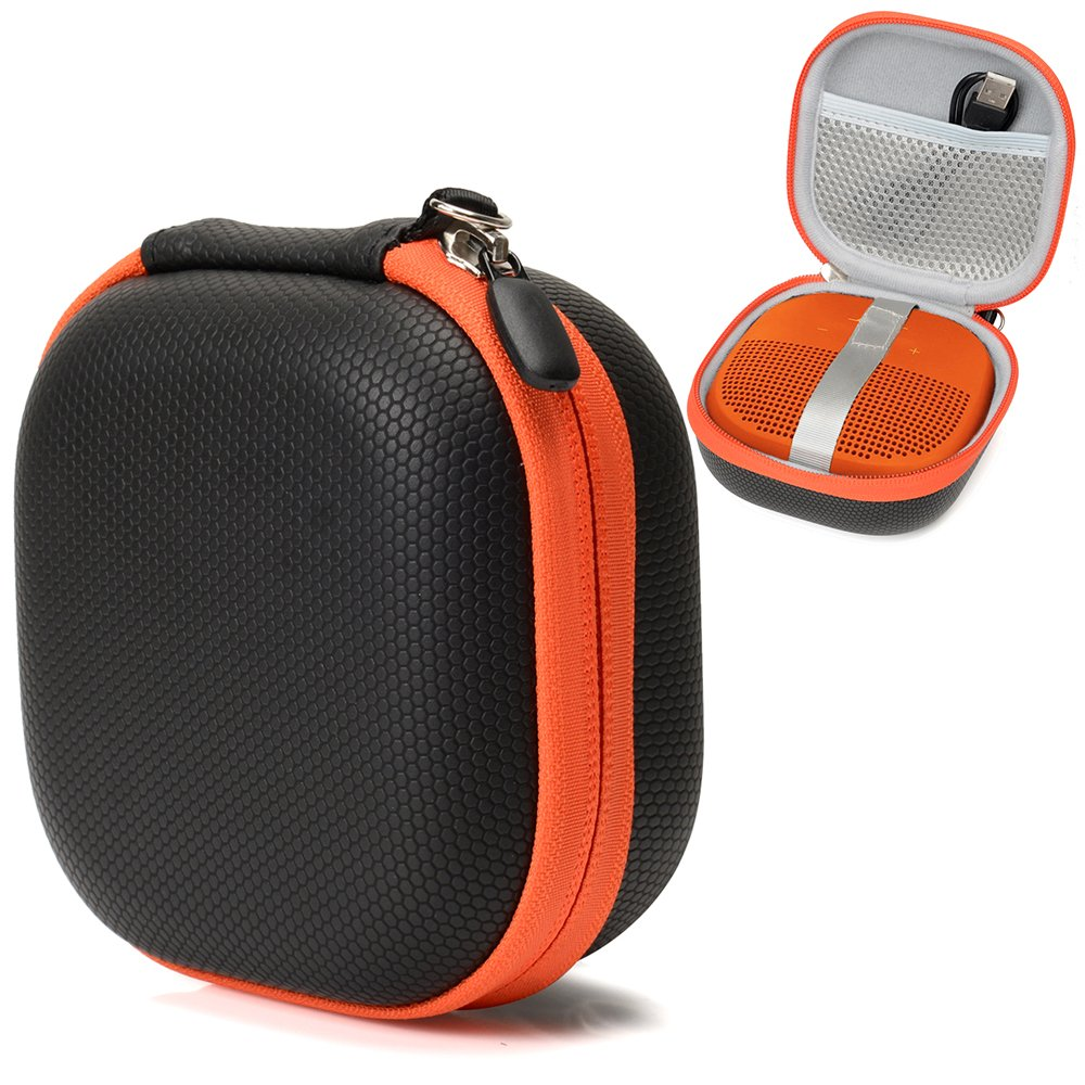 Hard Protective Case for Bose SoundLink Micro Bluetooth Speaker by CaseSack, mesh Pocket for Cable and Other Accessories, Elastic Strap to Secure The Speaker (Black with Orange Zipper)