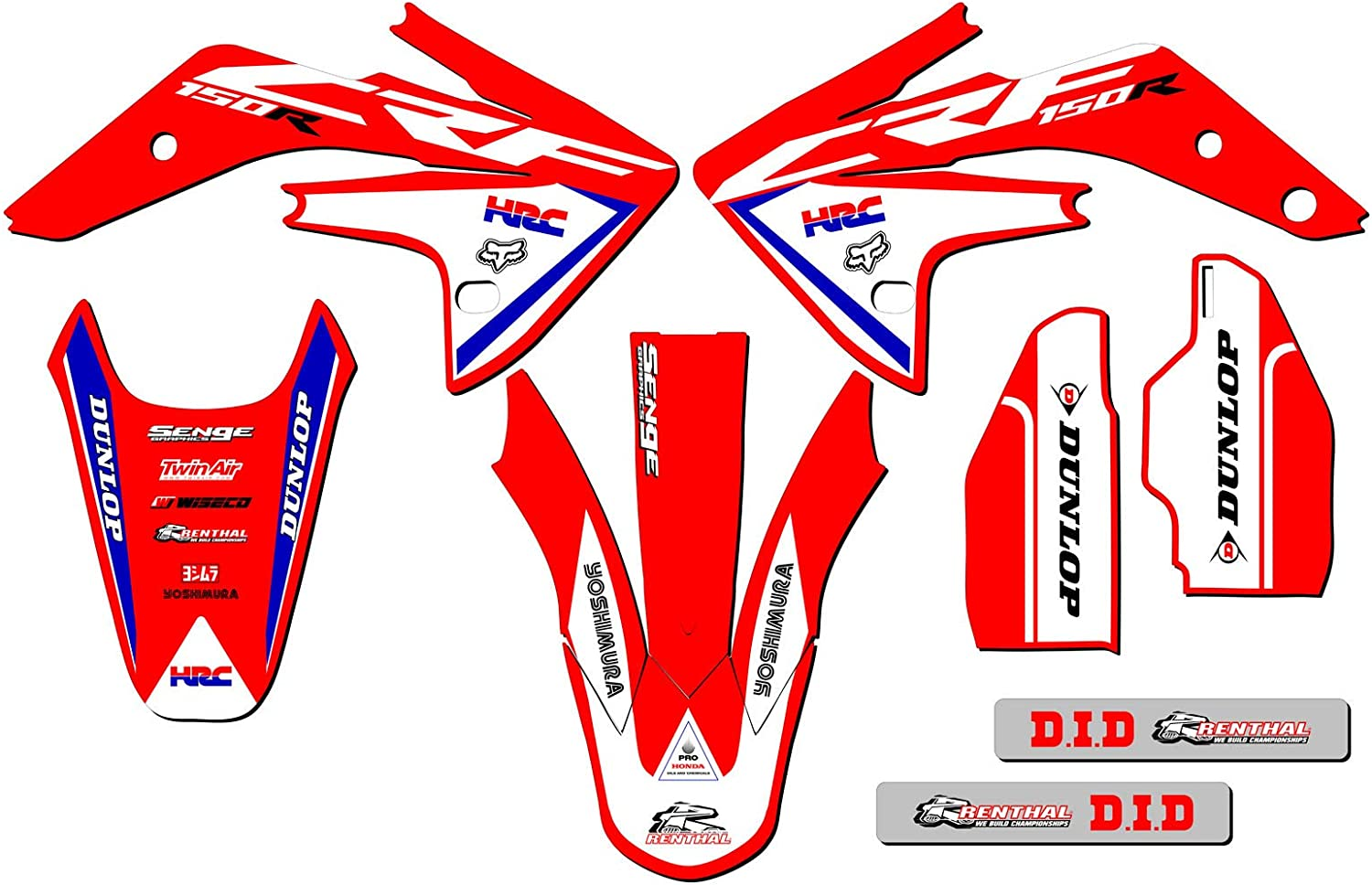 Works Red Complete Graphics kit Senge Graphics kit compatible with Honda 2007-2020 CRF 150R