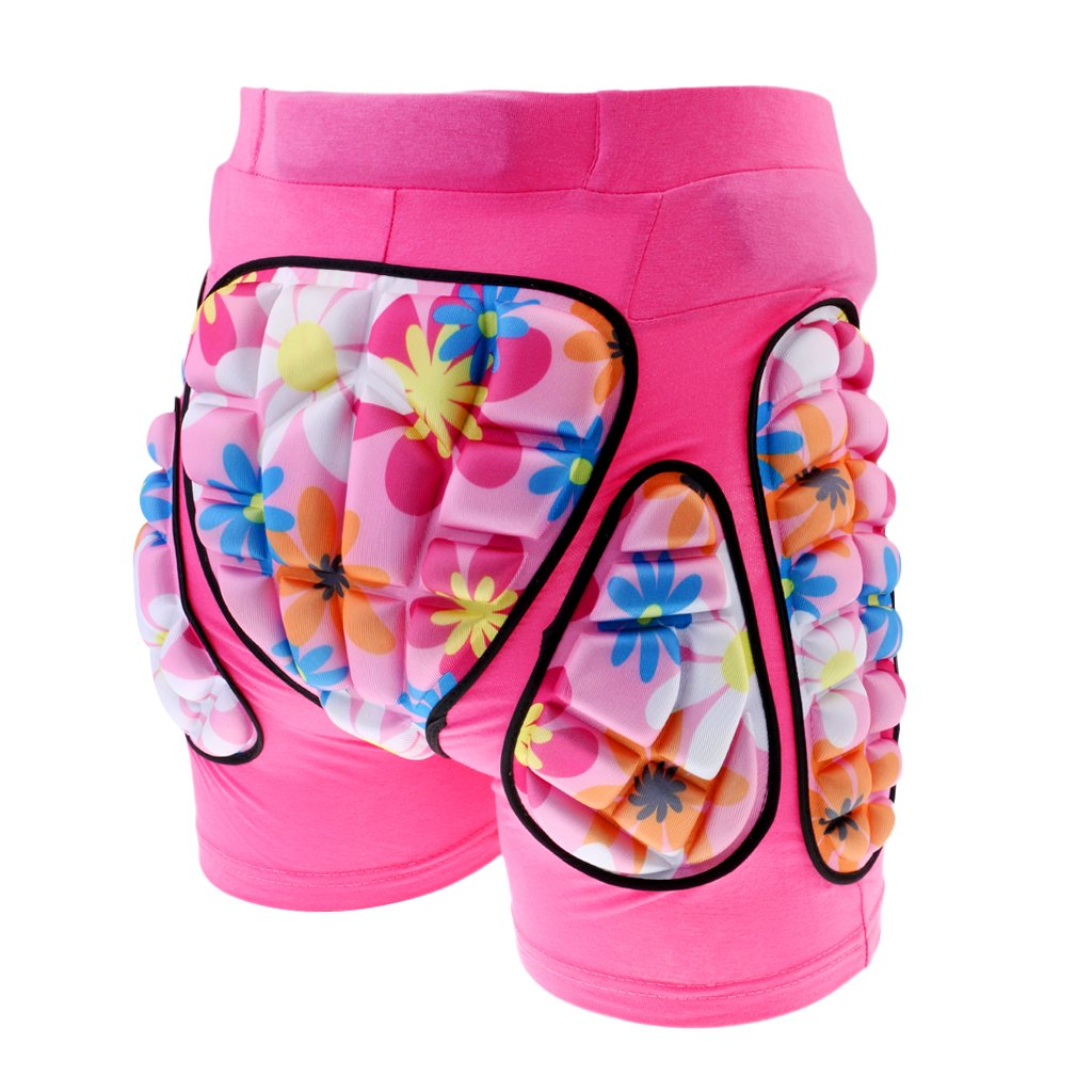 XS Dovewill Hip Pad Protector Skiing Roller Skating Snow Boarding Hip Guard Hockey Pants Padded Shorts for Kid Children Pink