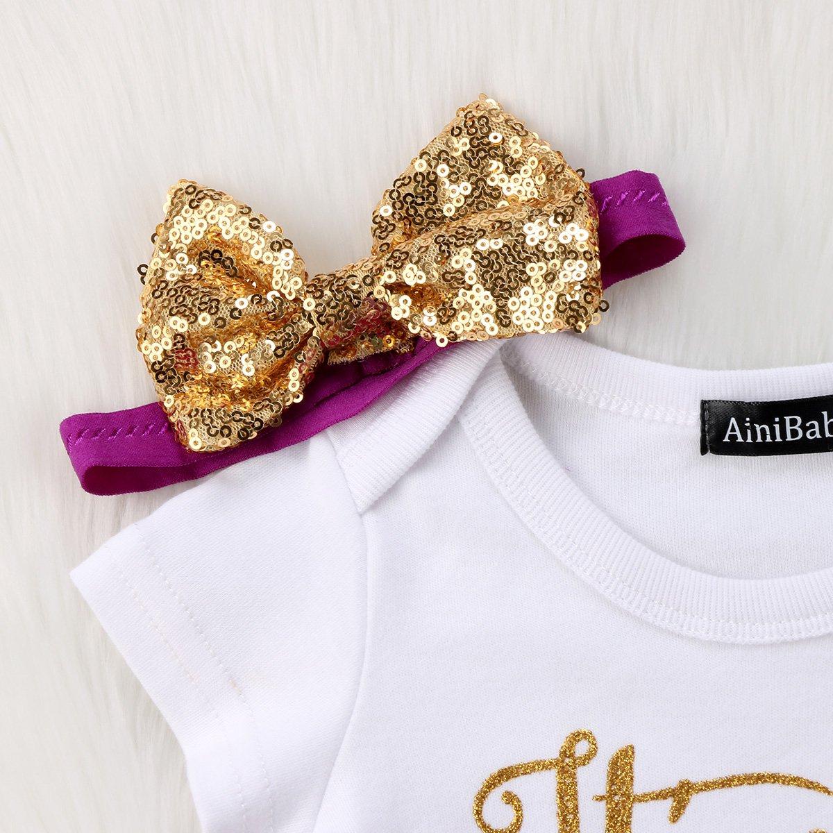 3PCS Unicorn Outfit Newborn Baby Girls 1st Birthday Romper Headband Clothing Set Tutu Skirt Dress