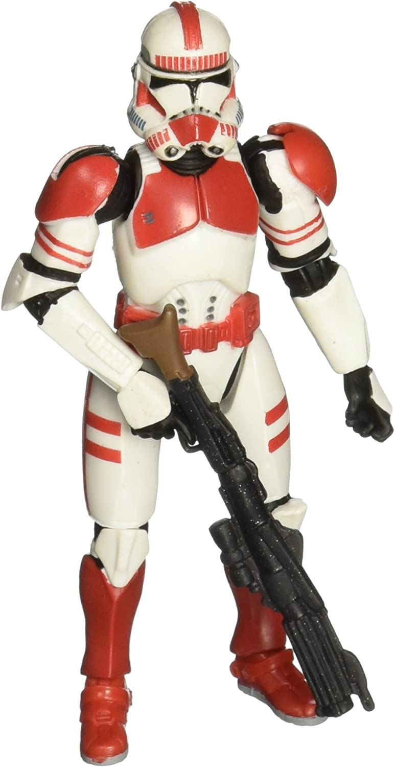 Amazon Com Star Wars Revenge Of The Sith Clone Trooper Quick Draw Attack Red Shock Trooper Toys Games