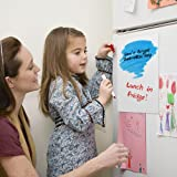 2 Pack Magnetic Dry Erase Whiteboard Sheets, YuCool Calendar Message Board for Kitchen Fridge/Refrigerator Student Kids Teacher, with 6 Colors Markers and a Board Eraser,Upgraded 8 x 12 inch - White