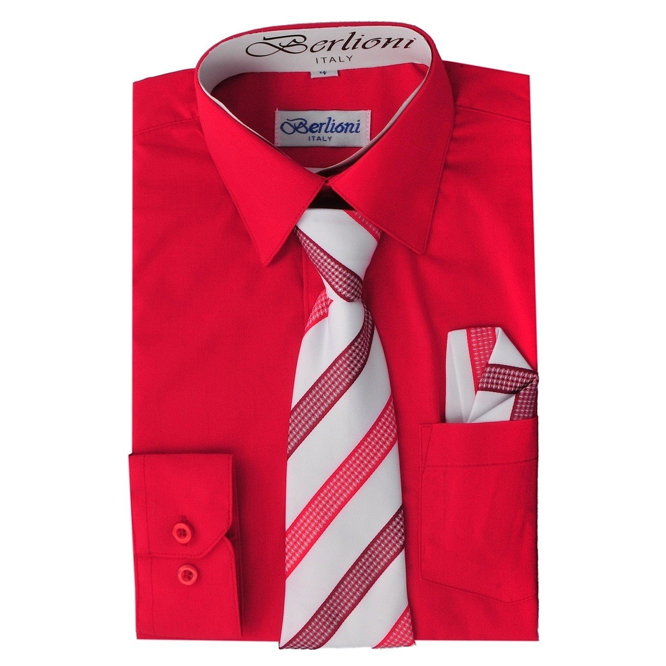 Boy's Dress Shirt, Necktie, and Hanky Set - Red, Size 6 Boy's Dress Shirt N-708