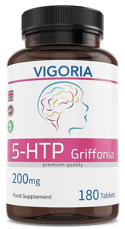 5-HTP 200 mg 180 comprimidos para 6 meses - Extracto natural puro 16: 1 de Griffonia Simplicifolia - Favorece el sueño profundo el buen humor y la ...