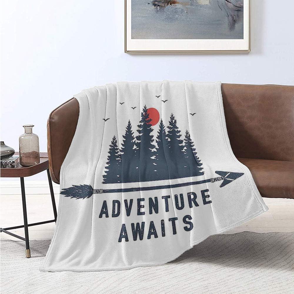 jecycleus Adventure Awaits Children's Blanket Travel Badge Fir Trees Moon Gulls and Arrow Calligraphy Lightweight Soft Warm and Comfortable W57 x L74 Inch Dark Blue Grey Vermilion