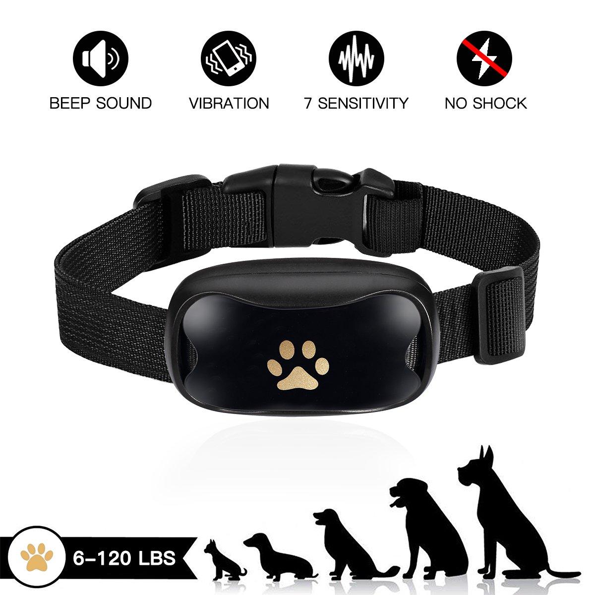 MANZOKU Bark Collar, No Shock Humane Bark Collar Sound Vibration 7 Sensitivity Waterproof Harmless Bark Control Collar Small Medium Large Dogs