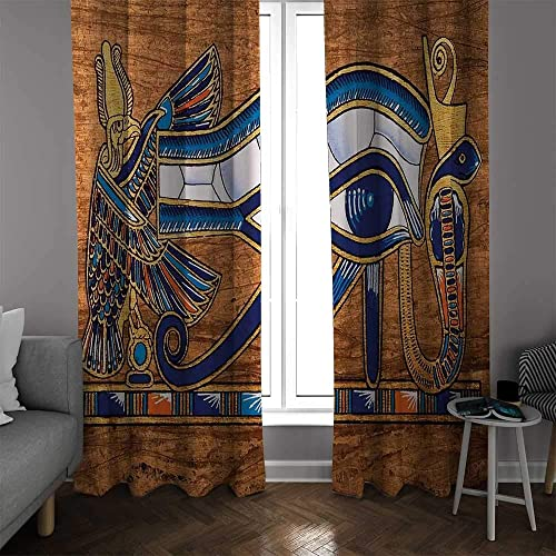 NUOMANAN Bedroom Curtains 2 Panel Sets Egyptian,Egyptian Ancient Art Papyrus Depicting Eye Mosaic Style Design,Navy Blue Orange and Brown,Complete Darkne