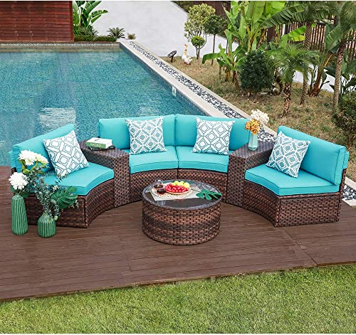 OC Orange-Casual Outdoor Furniture Set Half-Moon Patio All-Weather Wicker Sofa