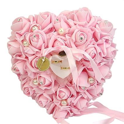 Jiacheng29 Romántico Rosa Cinta Forma de Corazón Anillo Caja Regalo Boda Joyería Anillo Almohada, plástico