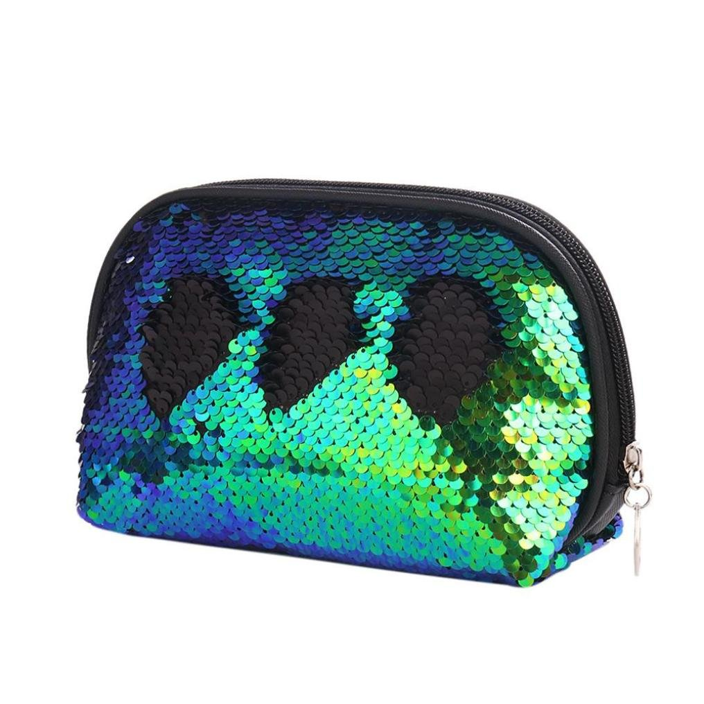 YJYdada Mermaid Sequin Pencil Case Cosmetic Makeup Coin Pouch Storage Zipper Purse (Green)