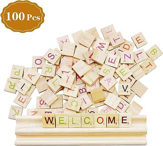 SANTOO 100 Piezas Letras de Madera en Inglés, Alfabeto Scrabble A a Z Educación Preescolar para Niños, Ayude a los Niños a Aprender en el Juego: Amazon.es: Juguetes y juegos
