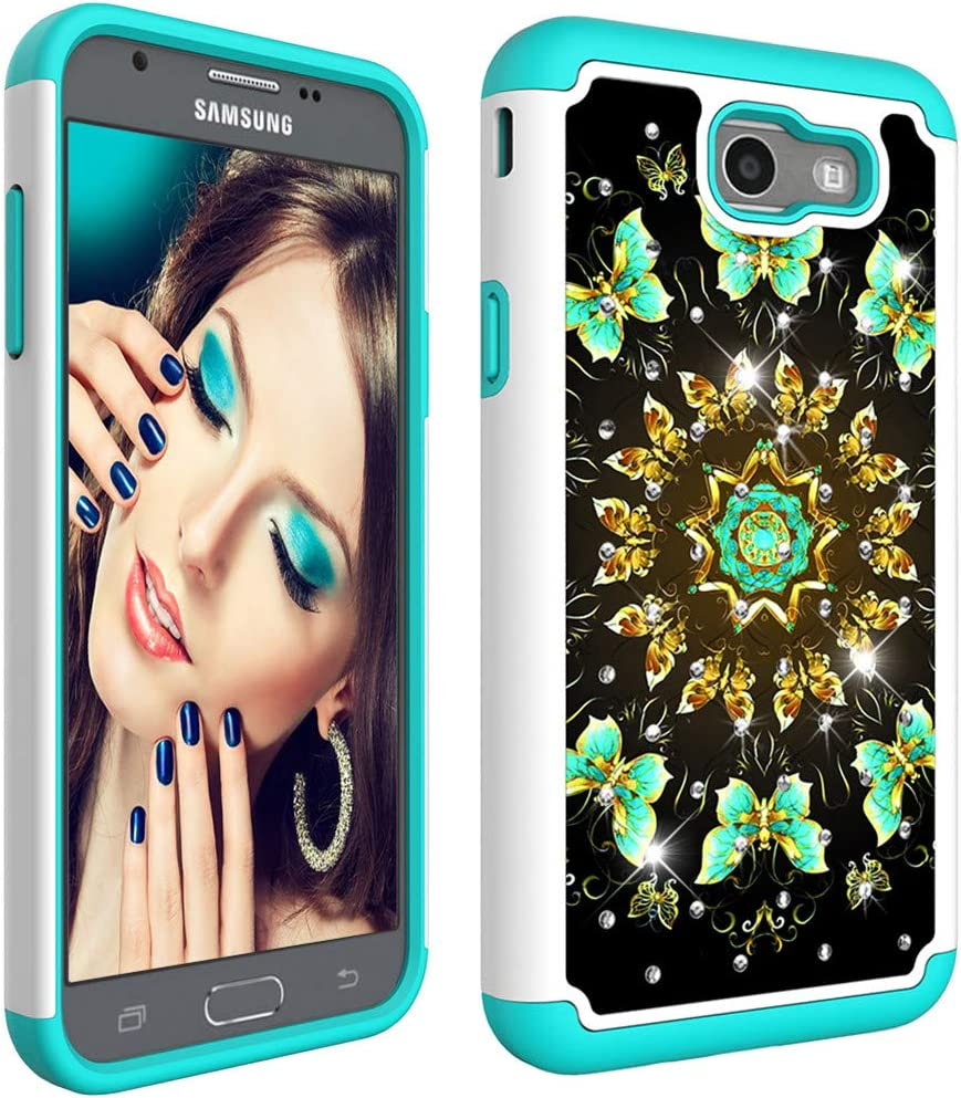 MRSTERUS 2-in-1 Case for Galaxy J7 Prime Case,Painted Design Phone case,Dual Layer Covers for Girls, Sturdy and Protective Bumper for Galaxy J7 Prime / J7 2017(US Version) Green Butterfly YBC