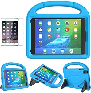iPad Mini 1/2/3/4/5 Case for Kids, SUPLIK Durable Shockproof Protective Handle Bumper Stand Cover with Screen Protector for Apple 7.9 inch iPad Mini 5th (2019),4th,3rd,2nd,1st Generation, Blue
