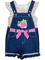 Young Hearts Girls 2 Piece Outfit Striped Shirt & Strawberry Denim Shortalls