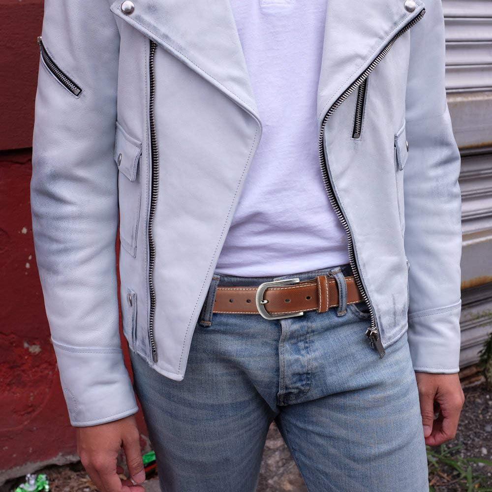 Mens Belt Autolock Genuine Leather Dress Belt Classic Casual 1 1//4 Wide Belt With Single Prong Buckle