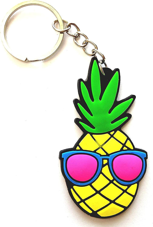 Pineapple Lovers Keychain Bag Charm Gift Set - Leather Pineapple - Soft Rubber Pineapple - PVC Rubber Pineapple - Metal Trinket Pineapple (4 Pack)