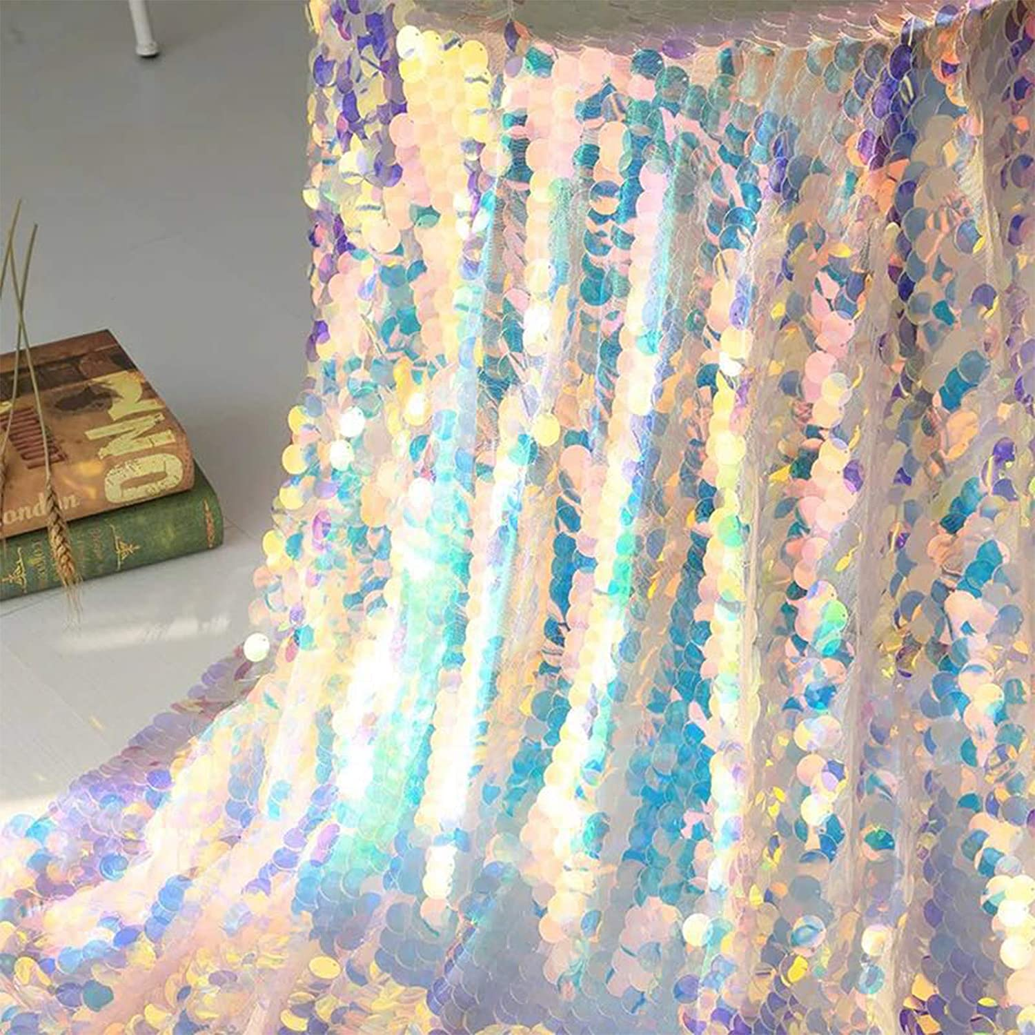 Iridescent Sequins Party Tablecloth Glitter Fabric Party backdrops for Wedding Christmas Baby Shower Mermaid DIY Decor