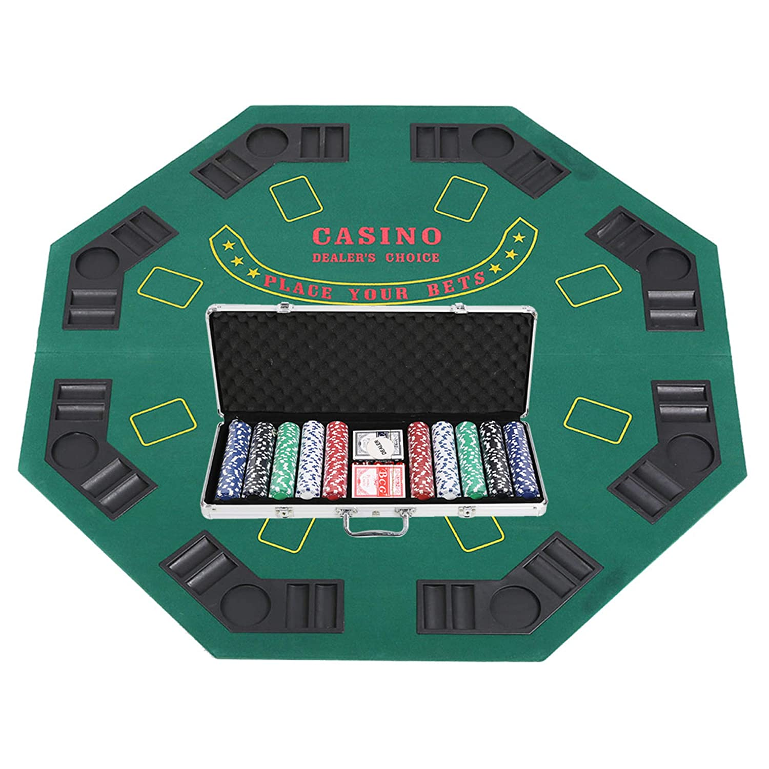 Genial Lucky Tree 47u201d Poker Table Top With Poker Chip Set   Folding 8 Players  Octagon Felt Topper Casino Blackjack Texas Holdem Game Table Layout With  Drink ...