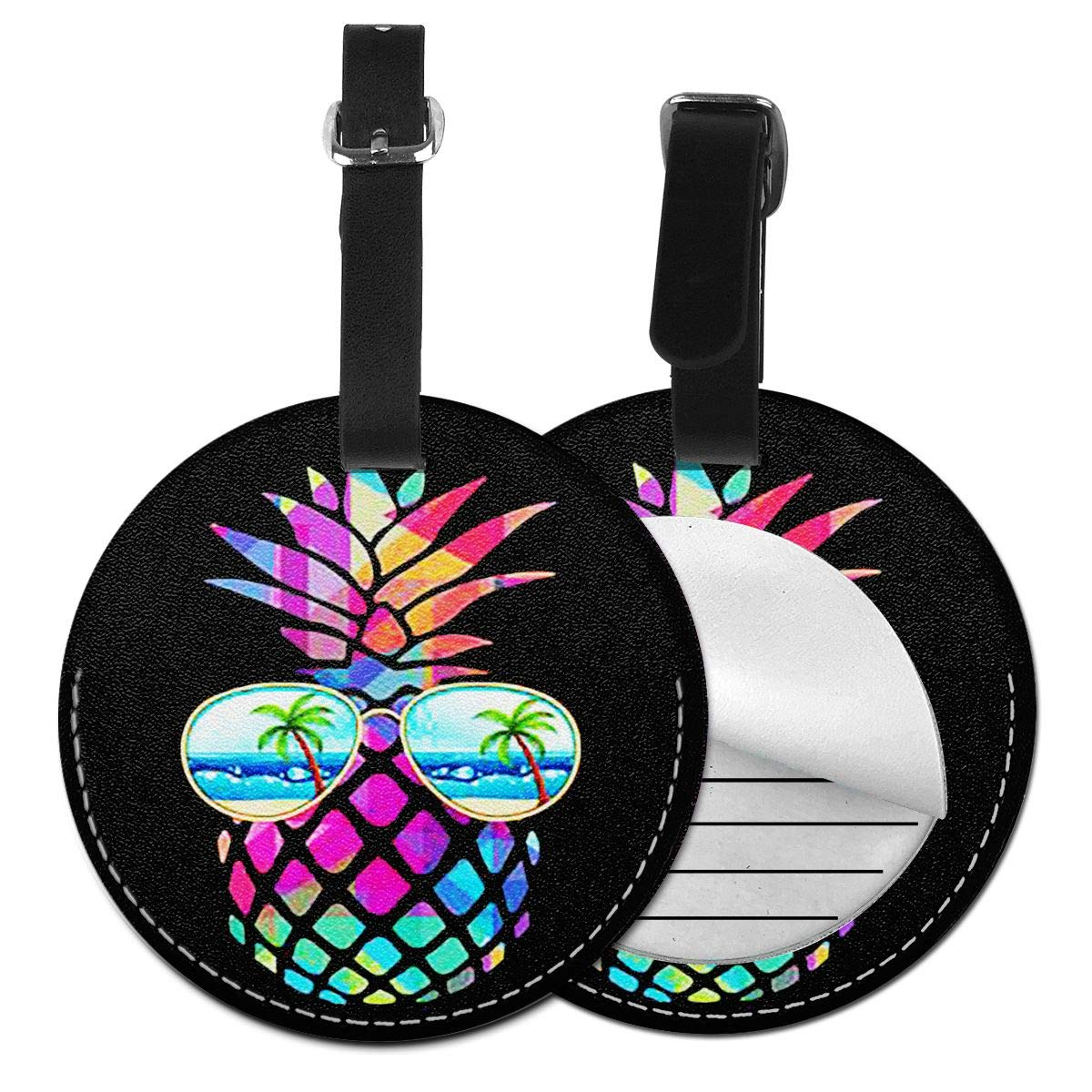 Free-2 Pineapple Rainbow with Glass Luggage Tag 3D Print Leather Travel Bag ID Card
