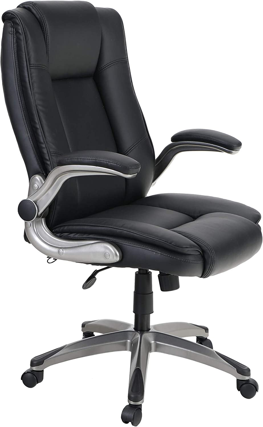 Sophia & William PU Leather Rocking Home Office Desk Chair High Back, Modern 360° Swivel Executive Computer Chair with Flip-up Armrests, Load Capacity: 300 lbs