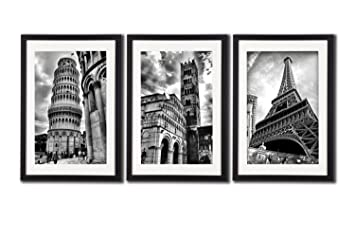 Framed Paris Italy Landmark Wall Art Posters For Office Decoration The Eiffel Tower Decor Leaning Tower  sc 1 st  Amazon.com & Amazon.com: Framed Paris Italy Landmark Wall Art Posters For Office ...