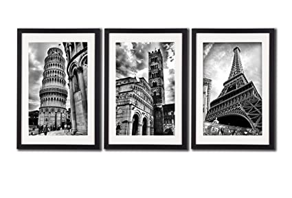 Amazon.com: Framed Paris Italy Landmark Wall Art Posters For Office ...