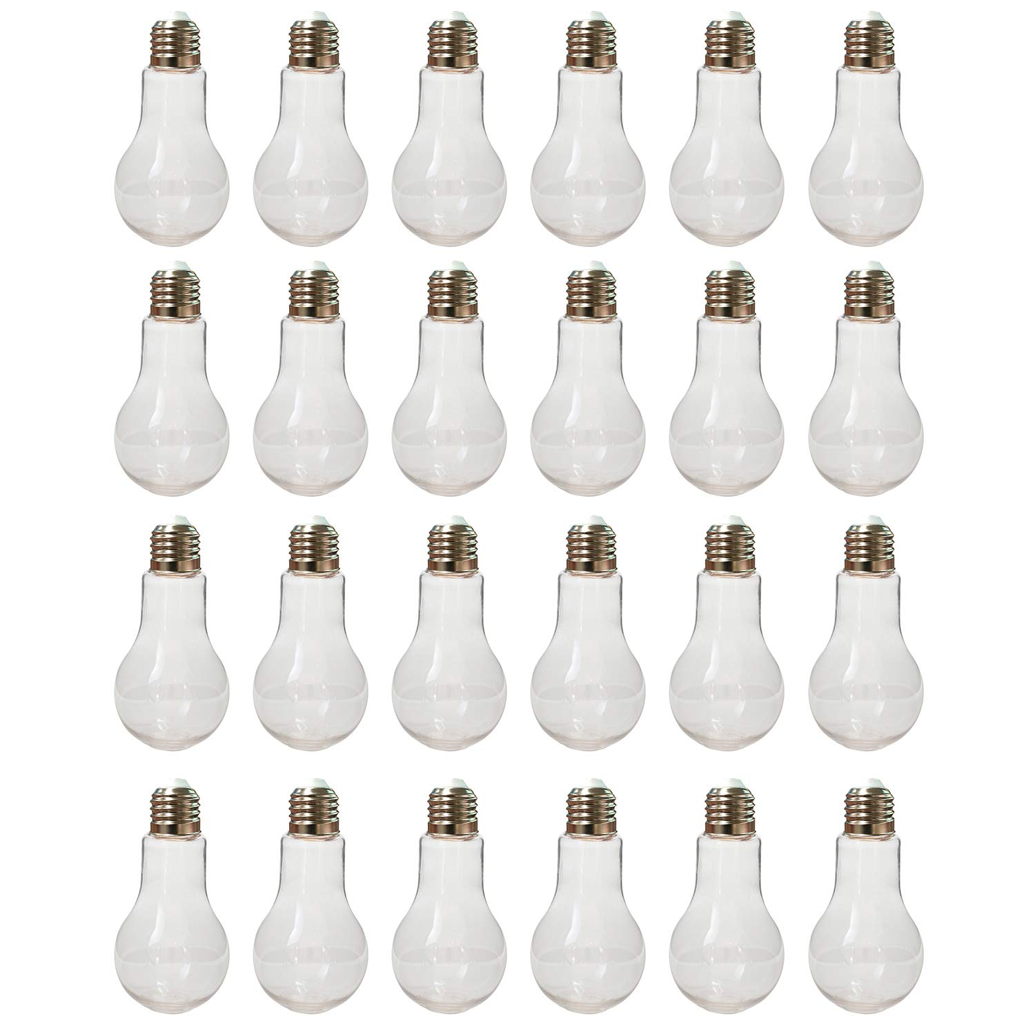 Houseables Plastic Light Bulbs, Fillable Craft Jars, 5.5 oz, 1'' W x 4.9'' L, 24 Pack, Clear, Fake Lightbulb Cups, Container for Candy, Drinking, Christmas Ornaments, Party Favors, Crafts, Decorations
