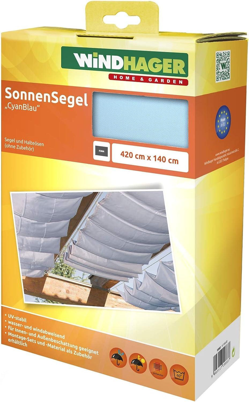 Windhager Toldo Vela de protección Solar tecnología de tensado de Cuerdas 420 x 140 cm, Ideal para pérgola o Invernadero, Azul Cian, 10883, Triste