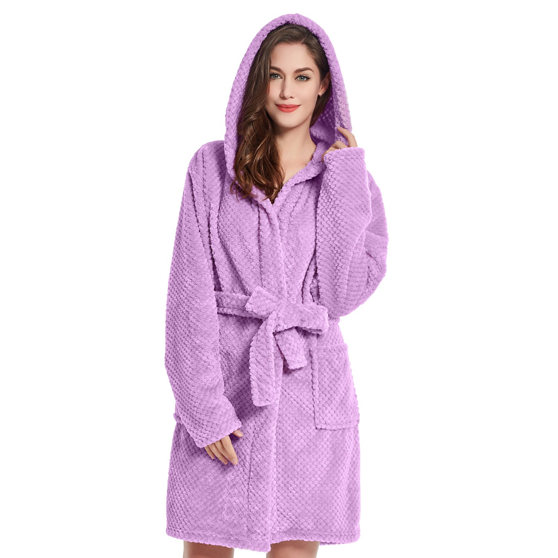 9693e4a9bd Bathrobe S Short Women Men Unisex Hooded Dressing Gown Microfibre Soft Snug  Cosy Fleece Lilac Sleepyhead  Amazon.co.uk  Kitchen   Home