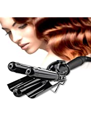 Professional 1 Inch Hair Waver 3 Barrels Jumbo Ceramic Hair Curler Rollers Crimper Beach Curl Curling Iron Hair Styling Tools with LCD Temperature Display.