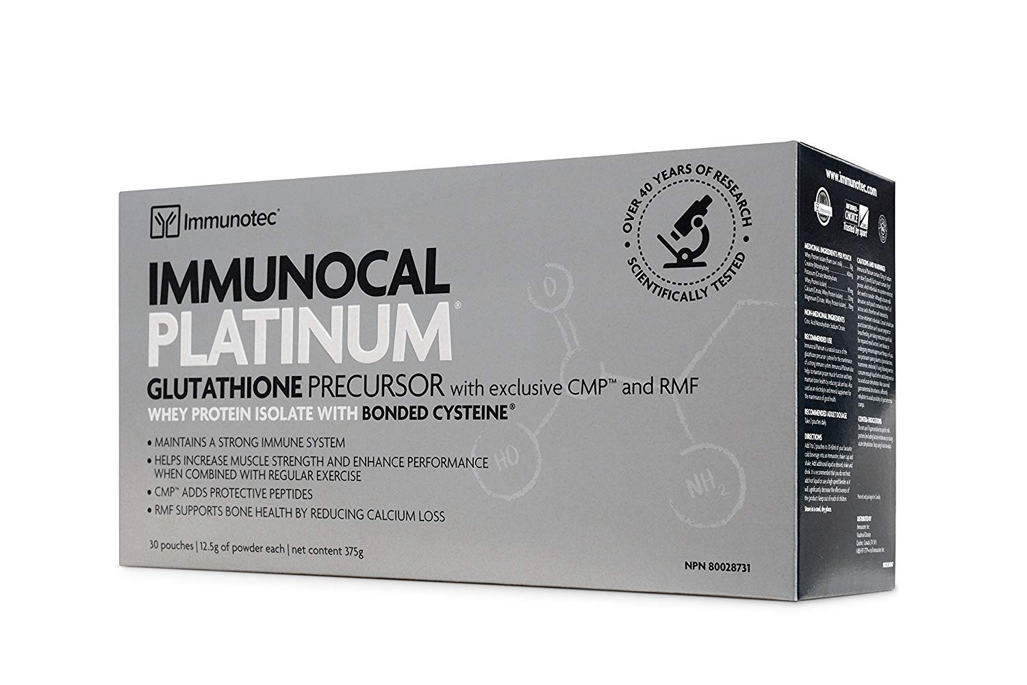 HMS-90 Immunocal Platinum 30packs HMS 90 Brand Immunocal, 0.44 oz Each