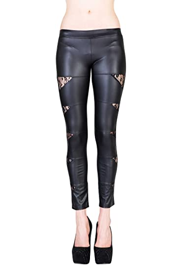 dbafd2f9e9be6 VIRGIN ONLY Women's Liquid faux leather leggings with side cutouts at  Amazon Women's Clothing store: