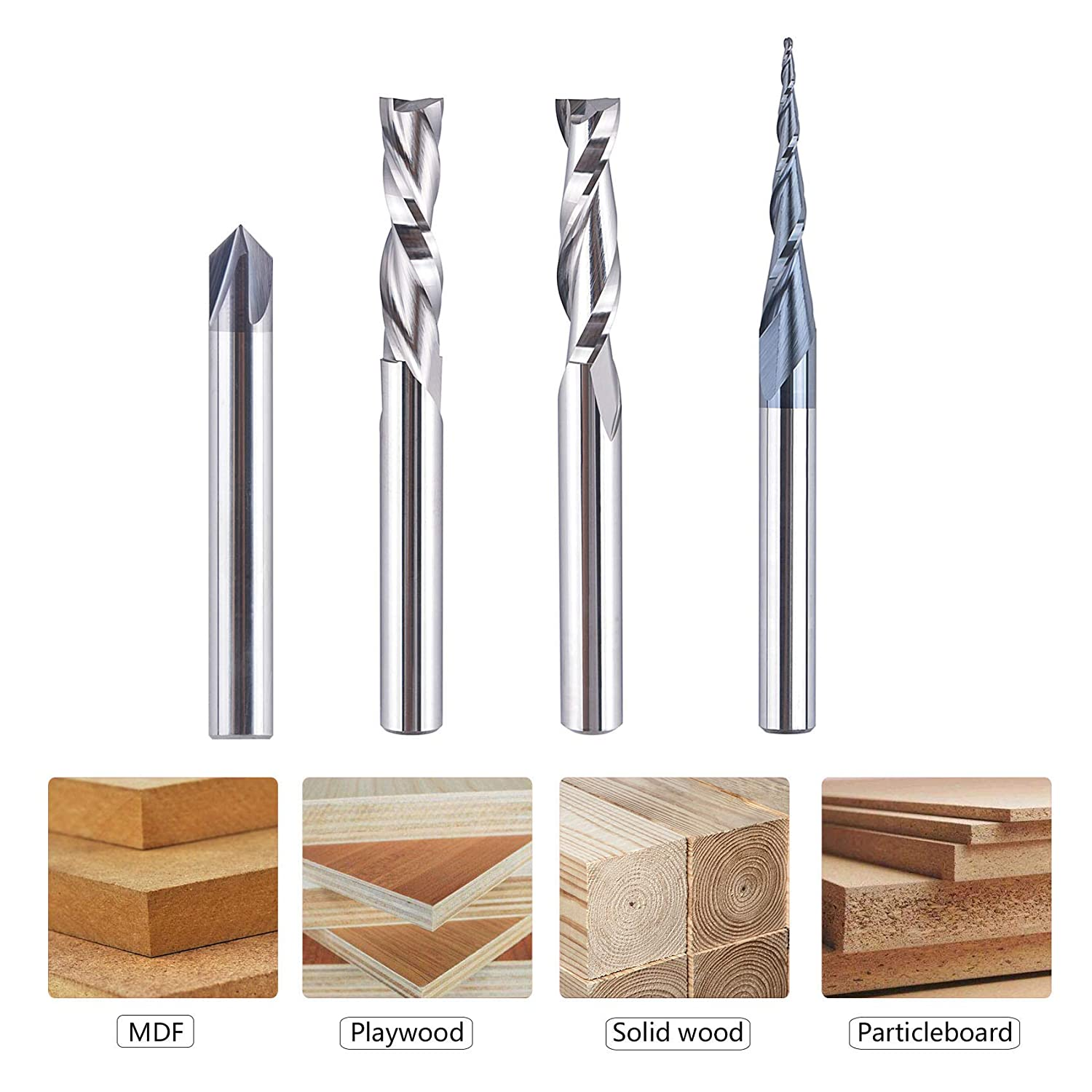 SpeTool CNC Router Bits Carving 8 Pcs Set for Wood Detail Profile V Groove Engraving Solid Carbide 1//4 Inch Shank