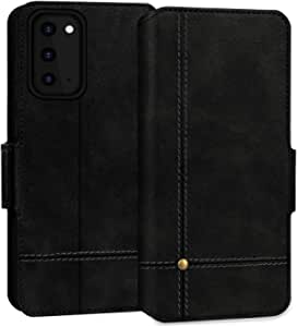FYY Samsung S20 Case, Ultra Slim PU Leather Wallet Case Protective Cover with Card Holders Kickstand Flip Case for Samsung Galaxy S20 5G 6.2 inch Black