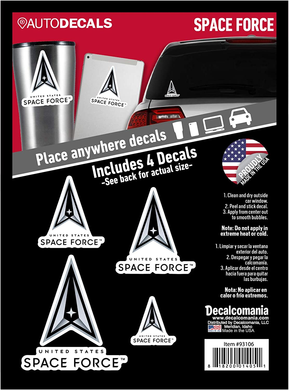 Officially Licensed US Space Force Decals - 4 Piece Space Force Sticker for Truck or Car Windows, Phones, Tablets & Laptops – Large Military Decals 2 to 5 Inches – Car Decals Military Collection