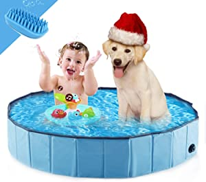 WESTERN HOME WH Foldable Dog Pools ,Plastic Kiddie Pool & Collapsible Dog Swimming Pools for Large Dogs, Portable Bathtub Pet Swimming Pool